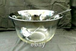 Dorothy Thorpe Mid Century 15 pc. Silver Fade Punch Bowl Set Roly Poly 5oz w1s1