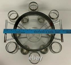 Dorothy Thorpe Silver Rim Punch Bowl 12 Roly Poly Glasses, Caddy & Ladle MCM Set