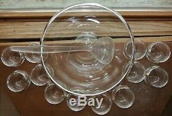 Dorothy Thorpe Silver Rimmed Glass Punch Bowl and 12 Roly Poly Cups