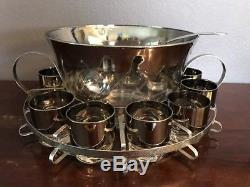 Dorothy Thorpe Style Silver Ombre Punch Bowl Barware Set Tumblers & Rack nice