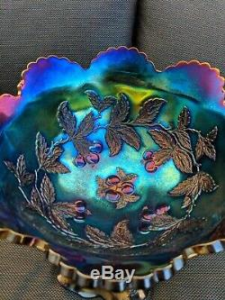 Dugan Electric Purple Many Fruits Carnival Glass Punch Bowl & Base
