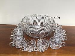 Duncan & Miller CARIBBEAN Clear Punch Bowl Set with Cups & Ladle Deco