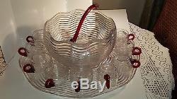 Duncan Miller Caribbean Glass Punch Bowl Rare Set-huge Platter, Ladle, & 9 Cups