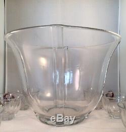 Duncan Miller EAPG Venetian Punch Bowl Ruby Red Clear Glass Art Deco Nouveau Exc