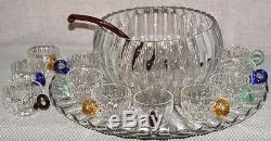 Duncan & Miller Radiance punch bowl, under plate, ladle, 12 cups applied handles