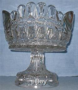 EAPG CLEAR BOW TIE PUNCH BOWL, FLAT, ONE-PIECE with SCALLOPED RIM