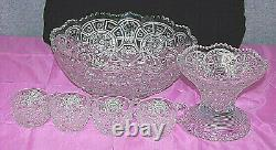 EAPG Imperial Broken Arches Punch Bowl 6 Piece Set Vintage M3777
