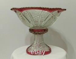 EAPG Indiana Glass #123 Ruby Stain Punch Bowl With Base Paneled Daisy & Fine Cut