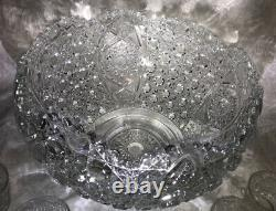 EAPG L E Smith Daisy and Button Punch Bowl with 18 Cups + Ladle