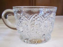 EAPG L E Smith Daisy and Button Punch Bowl with15 Cups