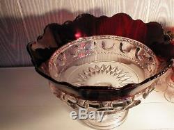 EAPG ruby stained = U. S. GLASS =kings crown = 0range/punch bowl. NEAR MINT