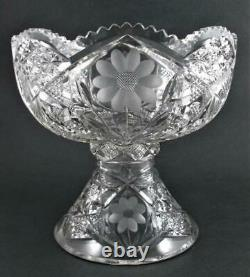EGGNOG 2pc PUNCH BOWL 9.5 tall, 3 Quart DAISY Antique ABP cut glass c. 1900