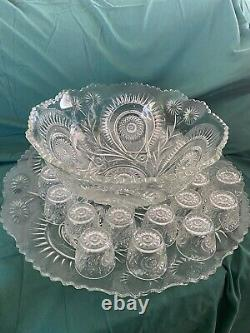 Eapg slewed horseshoe punch bowl With 18 Cups And Plate (pressed Glass)