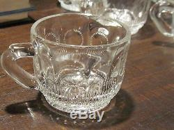 Early American Pattern glass punch bowl with 12 cups
