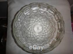 Early Antique Heisey Punch Bowl & 18 Cups Floriform Tulip Pillow Diamonds EAPG