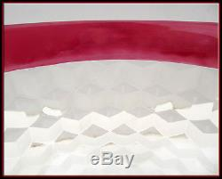 Elegant 60s Ruby Red Flash Glass 14 Pc. Diamond Punch Set Bowl 12 Glasses Ladle
