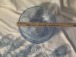 Elegant Glass Duncan Miller Caribbean Blue 10 1/2 Punch Bowl And 10 Cups RARE