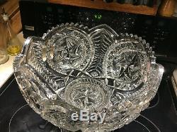 Elegant, Huge & Rare Antique Mckee Nortec Centipede Punch Bowl & Pedestal Base