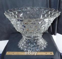 Elegant Large 15 Fostoria American Glass Punch Bowl with Base & 18 Cups