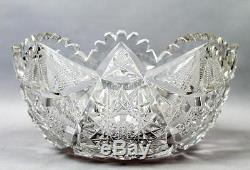 Exceptional c1900 12 Libbey American Brilliant Period Cut Glass Punch Bowl