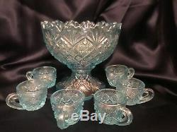 FAB! 50's Westmoreland Blue Iridescent Glass Miniature Punch Bowl Set