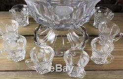 FANTASTIC FOSTORIA COIN PATTERN ETCHED ELEGANT CRYSTAL PUNCH BOWL SET WithSTAND
