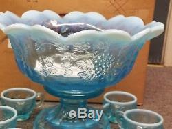 FENTON BLUE OPAL PANELED GRAPE GLASS PUNCH BOWL SET 12 CUPS ORIG BOX label BASE