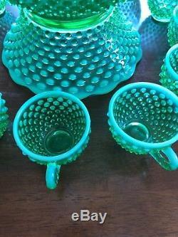 FENTON Green OPALESCENT Hobnail PUNCH Bowl 12 CUP Mug LOT Set 251/500 DEPRESSION
