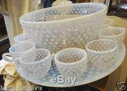 Fenton Opalescent Hobnail Punch Bowl, Underplate & Cups