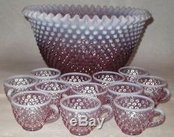 FENTON OPALESCENT ROSE MAGNOLIA PLUM HOBNAIL PUNCH BOWL SET & 12 CUPS MINT withBOX