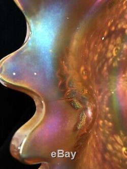 FENTON Orange Tree ANTIQUE CARNIVAL ART GLASS PUNCH BOWL With BASE Merigold