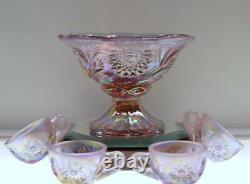 FENTON PUNCH BOWL Mini 5pc Rose Pearl HOBSTAR & FEATHER 6800 DN