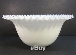 FENTON Vintage Art Glass HUGE 15 SILVER CREST Milk White Ruffled Punch Bowl XC