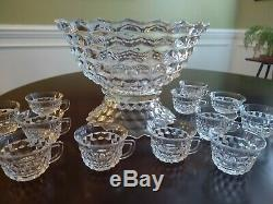 FOSTORIA AMERICAN 14 PUNCH BOWL With LOW FOOT & 11 CUPS GREAT DEAL
