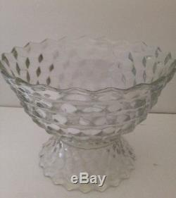 FOSTORIA AMERICAN Clear 13-1/2 Glass PUNCH BOWL, Pedestal 8 Cups Footed Crystal