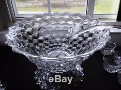 FOSTORIA AMERICAN PATTERN CRYSTAL 14 PUNCH BOWL PEDESTAL BASE 12 CUPS & LADLE