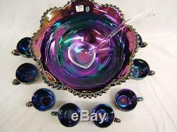 Fenton 11 Piece Amethyst Art Glass Punch Bowl Set Signed Shelly Fenton VGC