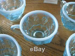 Fenton 14 Pc Blue Opalescent Paneled Grape Punch Bowl Set Hangtag & Box
