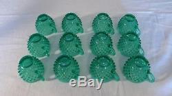 Fenton 1985 Connoisseur Collection Punch Bowl Set Green Opalescent Hobnail