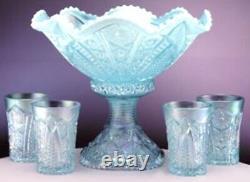 Fenton AQUAMARINE IRIDESCENT HOBSTAR Punch Bowl With 4 glasses 2005 Platinum Aqua