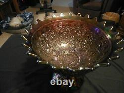 Fenton Amethyst Wreath of Roses Punch Bowl and Base Persian Medallion Interior