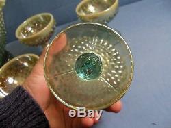 Fenton Aqua Marigold Opalescent Hobnail Champagne Punch Bowl Set with 8 Sherbets