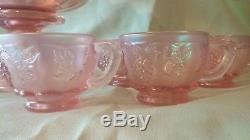 Fenton Art Glass Historic Sunset Glass Punch Bowl Set