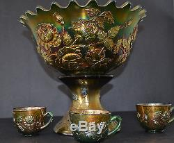 Fenton Carnival Glass Wreath Of Roses Punch Bowl Set With Three Cups