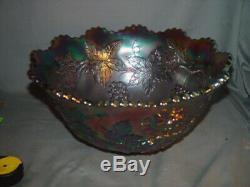 Fenton Carnival Glass Wreath Of Roses Punch Bowl Top, Purple Grape Interior