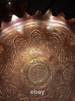 Fenton Carnival Glass Wreath of Roses Punch Bowl & Base, Marigold Rare Antique