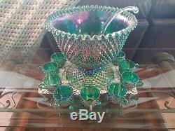 Fenton, Carnival Punch bowl with 12 cups and Fenton Ladle