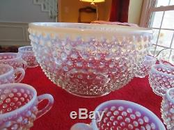 Fenton French Opalescent Hobnail Punchbowl Punch Bowl Set Bowl, 11 Cups, Ladle