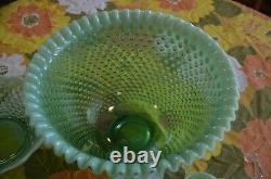 Fenton Green Opalescent Hobnail Punch Bowl & 12 Cups & Glass Ladle
