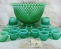 Fenton Green Opalescent Hobnail Punch Bowl Base 12 Cups w Holders & Fairy Lights
